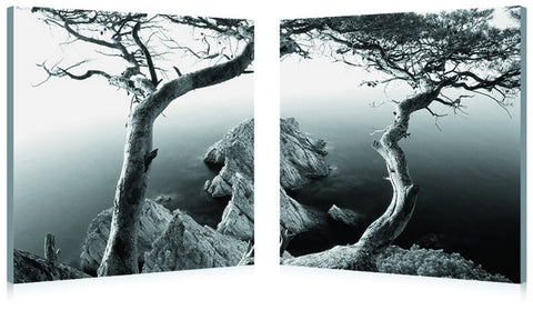 Baxton Studio Rocky Shore Mounted Photography Print Diptych-Wall Decorations-HipModernHome