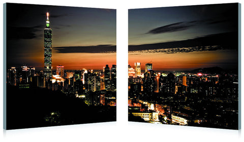 Baxton Studio Taipei Skyline Mounted Photography Print Diptych-Wall Decorations-HipModernHome