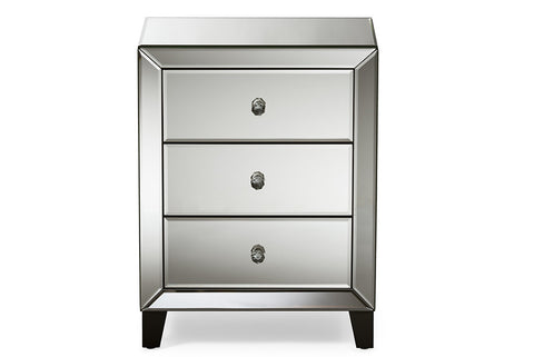 Baxton Studio Chevron Modern and Contemporary Hollywood Regency Glamour Style Mirrored 3-Drawers Nightstand Bedside Table