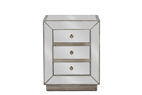 Baxton Studio Currin Contemporary Mirrored 3-Drawer Nightstand