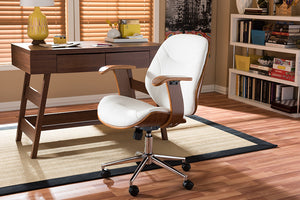 Baxton Studio Rathburn White & Walnut Office Chair-Chairs-HipModernHome