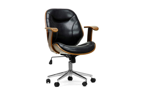 Baxton Studio Rathburn Walnut and Black Modern Office Chair-Chairs-HipModernHome