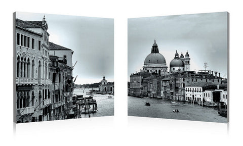 Baxton Studio Timeless Venice Mounted Photography Print Diptych-Wall Decorations-HipModernHome