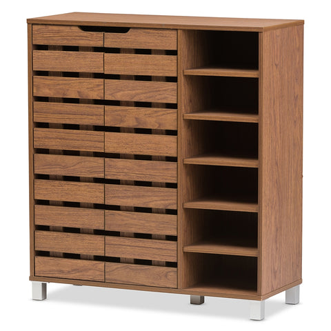 Baxton Studio Shirley Walnut Medium Brown Wood 2-Door Shoe Cabinet w/ Open Shelves-Cabinets-HipModernHome