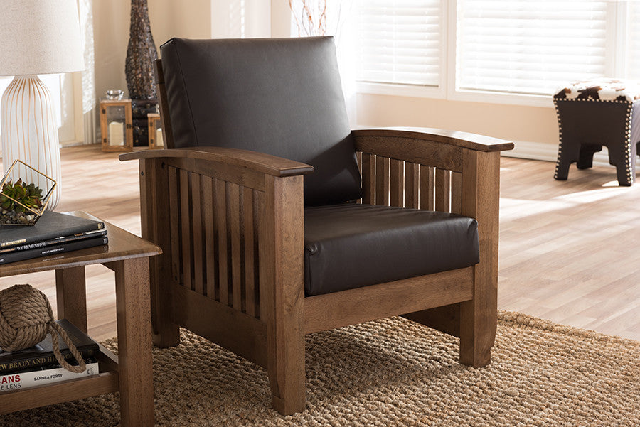 Superbe Baxton Studio Charlotte Modern Classic Mission Style Walnut Brown Wood And  Dark Brown Faux Leather 1