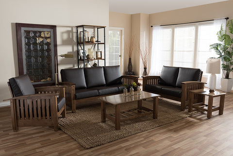 Baxton Studio Charlotte Modern Classic Mission Style Walnut Brown Wood and Dark Brown Faux Leather Living Room 5-Piece Set