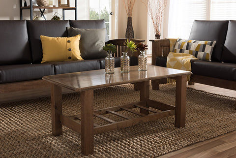 Baxton Studio Charlotte Modern Classic Mission Style Walnut Brown Wood Coffee Table