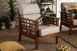 Baxton Studio Larissa Cherry Finished Brown Wood & Beige Living Room 1-Seater Lounge Chair-Accent Chairs-HipModernHome