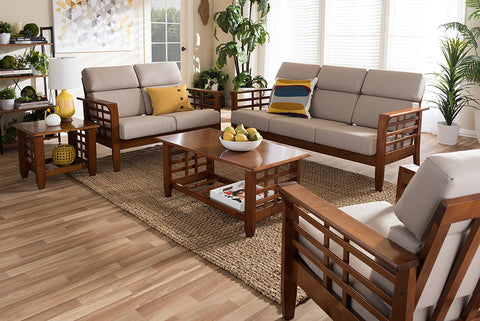 Baxton Studio Larissa Modern Classic Mission Style Cherry Finished Brown Wood and Beige Fabric High Back Cushioned Living Room 5-Piece Set