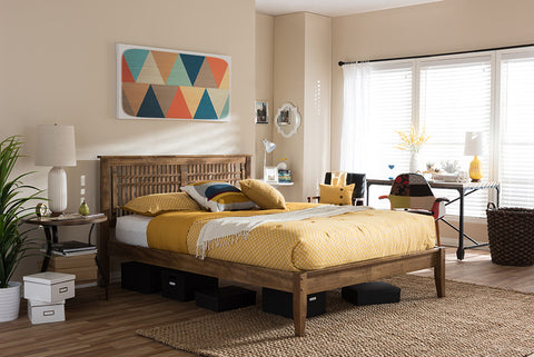 Baxton Studio Loafey Mid-Century Modern Solid Walnut Wood Window-Pane Style King Size Platform Bed