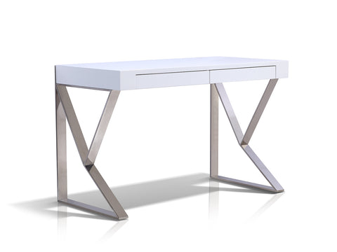 Casabianca YORK High Gloss White Lacquer Office Desk - TC-0098-WH-Office Desks-HipModernHome