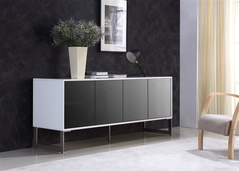 Casabianca CUADRO High Gloss White Lacquer w Mirrored Glass Buffet-Buffets-HipModernHome.com