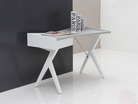Casabianca EPIC High Gloss White Lacquer Office Desk-Office Desks-HipModernHome.com