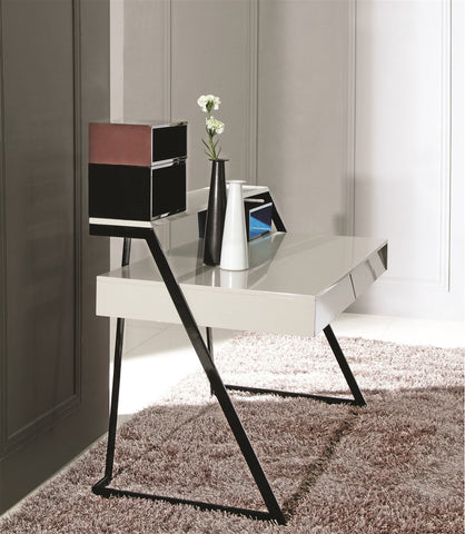 Casabianca CAPO High Gloss White/Gray Lacquer Office Desk-Office Desks-HipModernHome.com