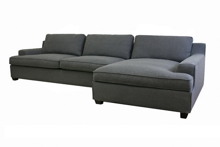 Baxton Studio Kaspar Slate Gray Fabric Modern Sectional Sofa