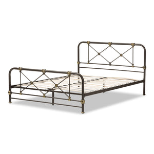 Baxton Studio Beatrice Black Metal Queen Size Platform Bed-Platform Beds-HipModernHome