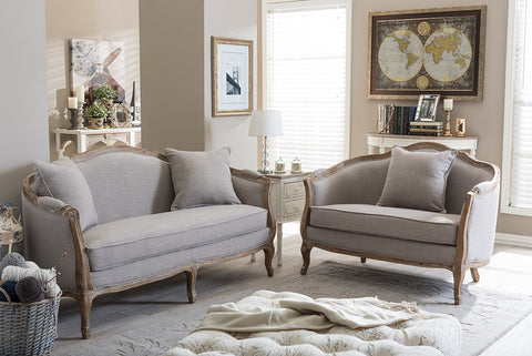 Baxton Studio Chantal French Country White Wash Weathered Oak Distressed Beige Linen Upholstered 3-seater Sofa and 2-seater Loveseat Living room Set