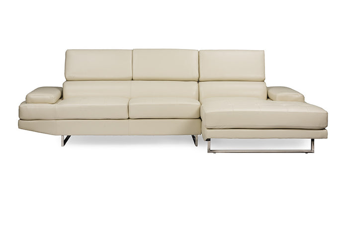 Baxton Studio Adler Pearl Bonded Leather Right Facing Sectional Sofa