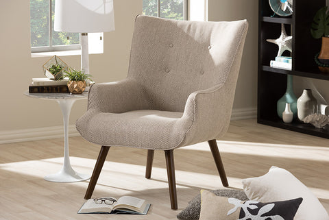 Baxton Studio Nola Mid-Century Inspired Beige Fabric Upholstered Occasional Armchair