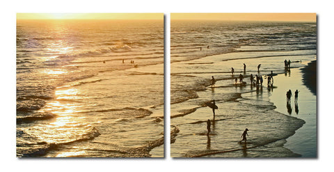 Baxton Studio Wading in the Waves Mounted Photography Print Diptych-Wall Decorations-HipModernHome