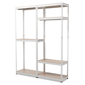 Baxton Studio Gavin White Metal 7-Shelf Closet Storage Racking Organizer-Shelving-HipModernHome