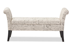 Baxton Studio Avignon Script-Patterned French Laundry Storage Ottoman Bench-Benches-HipModernHome