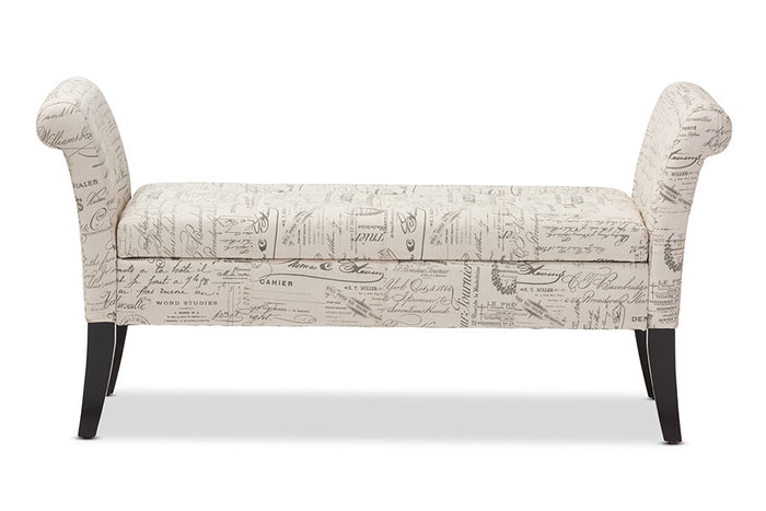 Baxton Studio Avignon Script-Patterned French Laundry Storage Ottoman Bench