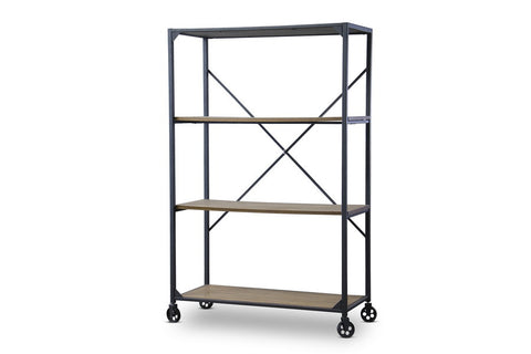 Baxton Studio Caribou Wood and Metal Bookcase