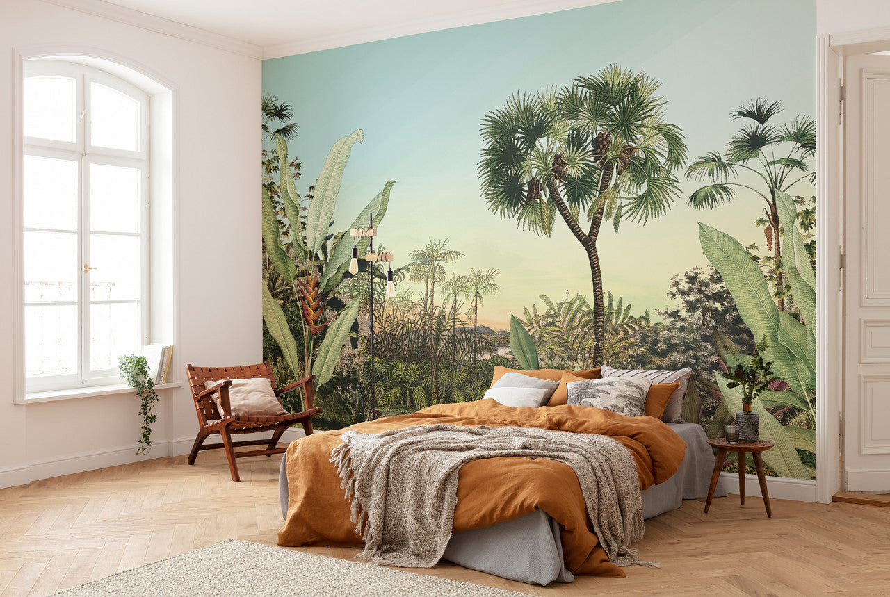 jungle mural illustration in bedroom at Forest Homes
