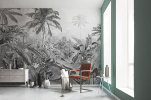 Jungle Wallpaper, jungle palm wallpaper, nature fine art, nature black and white illustrations, forest wallpaper, nature decor, interior design, black and white mural