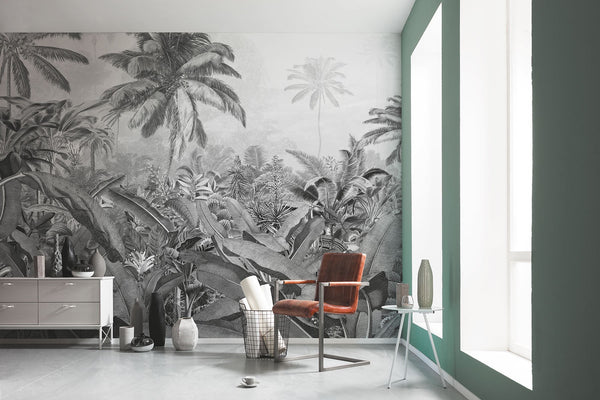 Office decor with beautiful jungle wallpaper in black and white. Forest Homes Murals