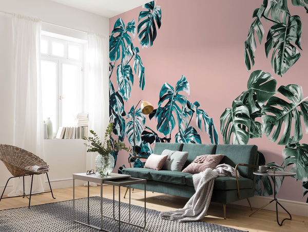 Fresh and modern Tropical Decor with monstera leaves