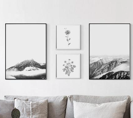 Nature inspired walls styles - Grey scale