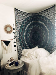 beautiful gallery wall with tapestry