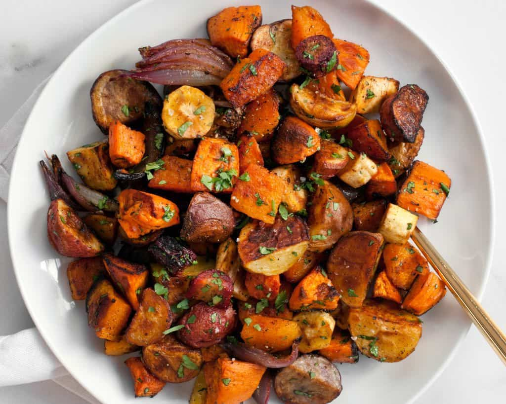 Chilli Roasted Root Vegetables - Forest Homes Nutrition