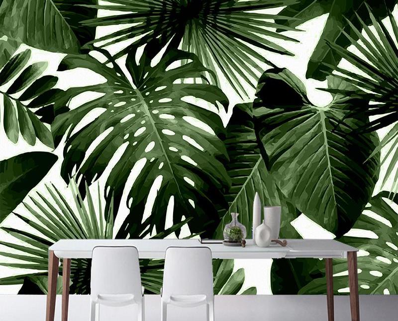 Living room and dining room tropical wallpaper - Forest Homes