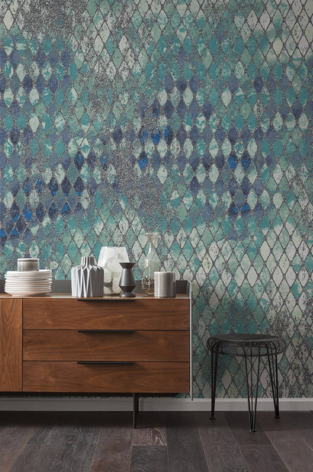 nature Wall Decor, Aqua Camouflage Mural Wallpaper, beautiful natural decor, nature inspired designs, best home decor, Forest Homes