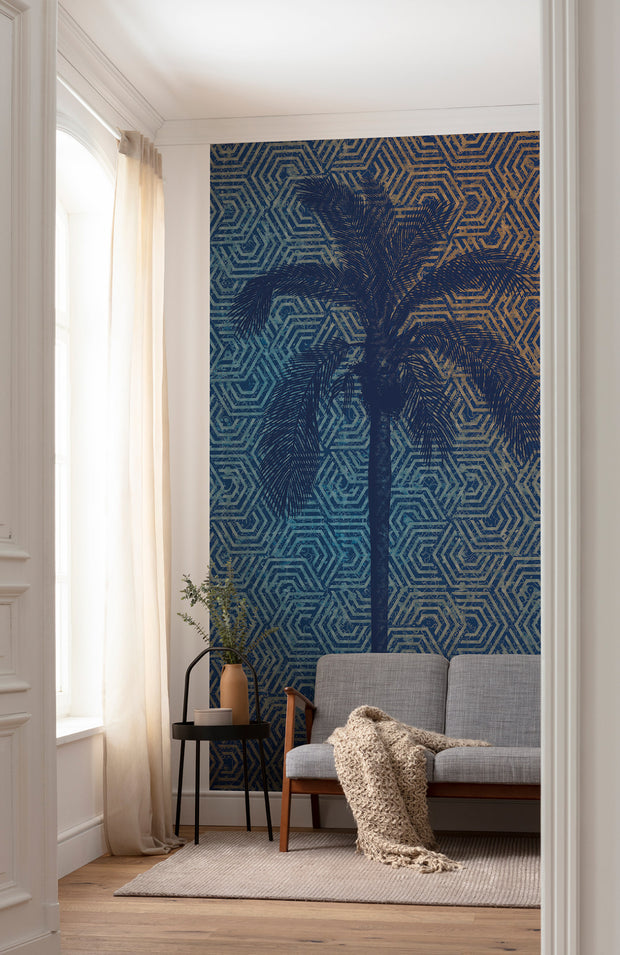 Blue Palm Mural Wallpaper