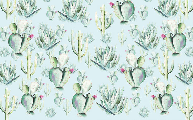 nature Wall Decor, Blue Cactus Love Mural Wallpaper, beautiful natural decor, nature inspired designs, best home decor, Forest Homes