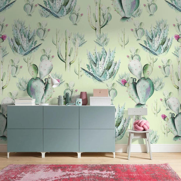 nature Wall Decor, Green Cactus Love Mural Wallpaper, beautiful natural decor, nature inspired designs, best home decor, Forest Homes