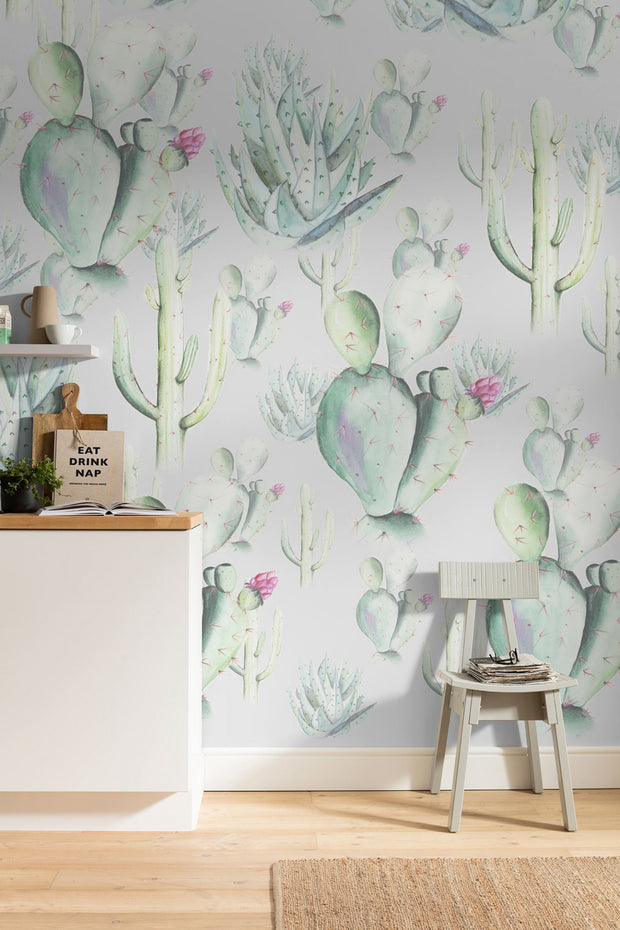 nature Wall Decor, Grey Cactus Love Mural Wallpaper, beautiful natural decor, nature inspired designs, best home decor, Forest Homes