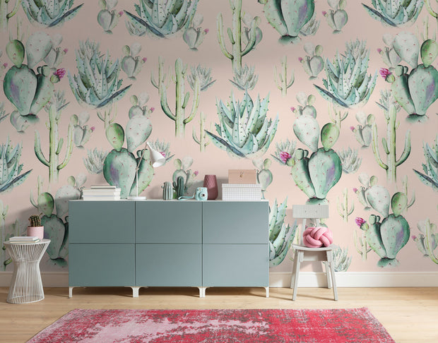 nature Wall Decor, Rose Cactus Love Mural Wallpaper, beautiful natural decor, nature inspired designs, best home decor, Forest Homes