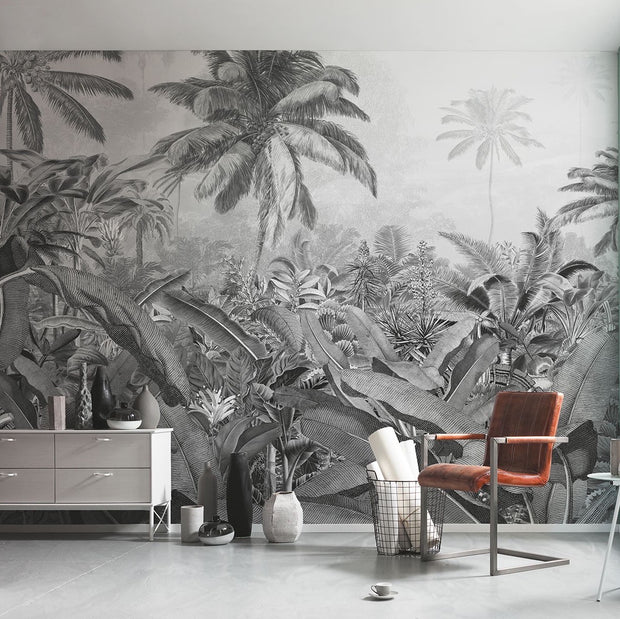 nature Wall Decor, Frais Black and White Jungle Mural, beautiful natural decor, nature inspired designs, best home decor, Forest Homes