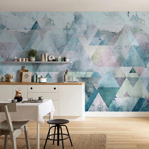nature Wall Decor, Geometric Peaks Blue Mural Wallpaper, beautiful natural decor, nature inspired designs, best home decor, Forest Homes