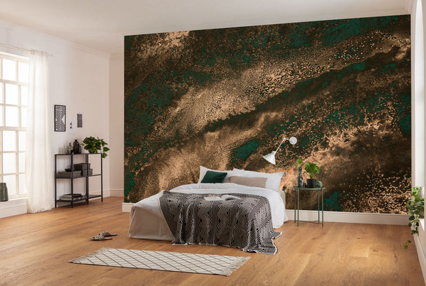 Golden Green Mural Wallpaper