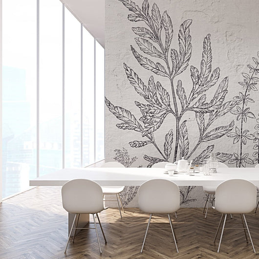 nature Wall Decor, Leaf Black and White Wallpaper, beautiful natural decor, nature inspired designs, best home decor, Forest Homes