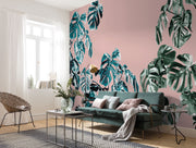 nature Wall Decor, Pink Monstera Mural Wallpaper, beautiful natural decor, nature inspired designs, best home decor, Forest Homes