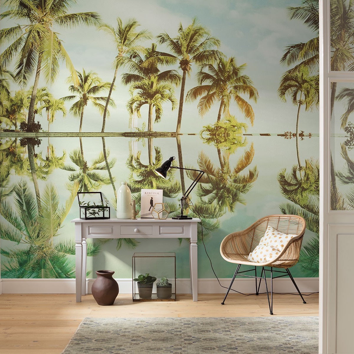 Mirror In The Palms Mural Wallpaper Palms Beach Murals Forest Homes
