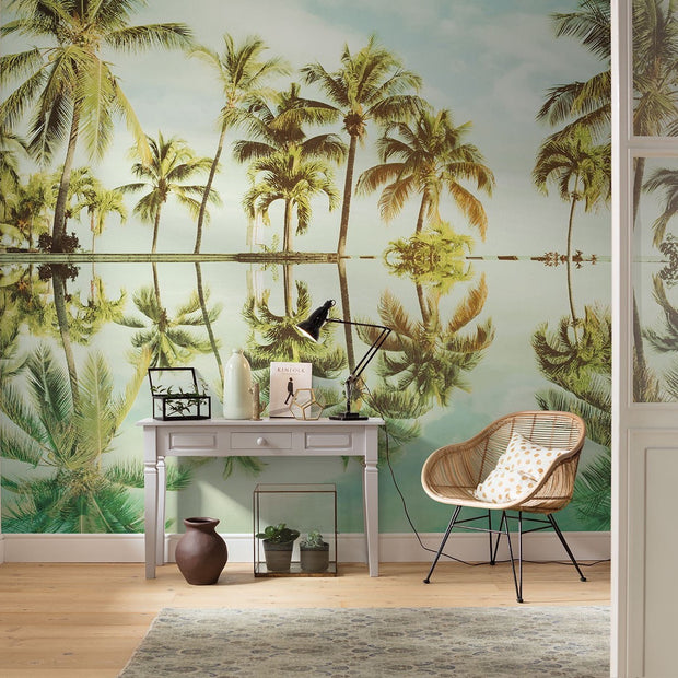nature Wall Decor, Mirror in the Palms Mural Wallpaper, beautiful natural decor, nature inspired designs, best home decor, Forest Homes