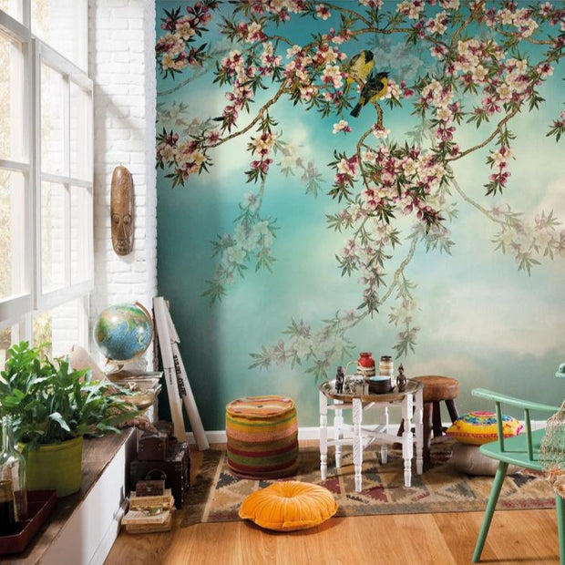 nature Wall Decor, Spring Birds Mural Wallpaper, beautiful natural decor, nature inspired designs, best home decor, Forest Homes